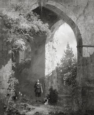 Man bij een ruïne