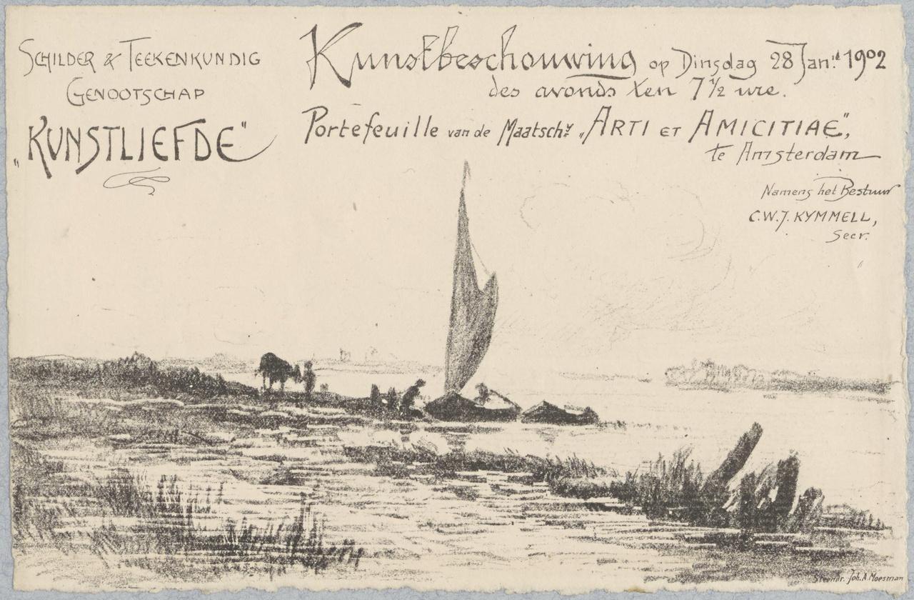 Uitnodiging van Genootschap Kunstliefde voor een kunstbeschouwing op 28 januari 1902