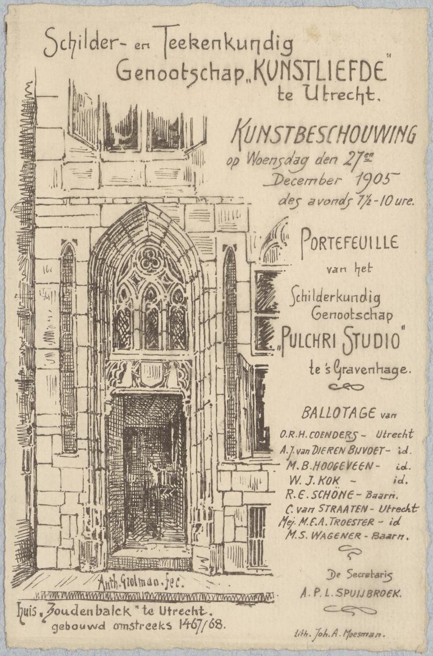 Convocatie van Genootschap Kunstliefde voor een kunstbeschouwing op 27 december 1905
