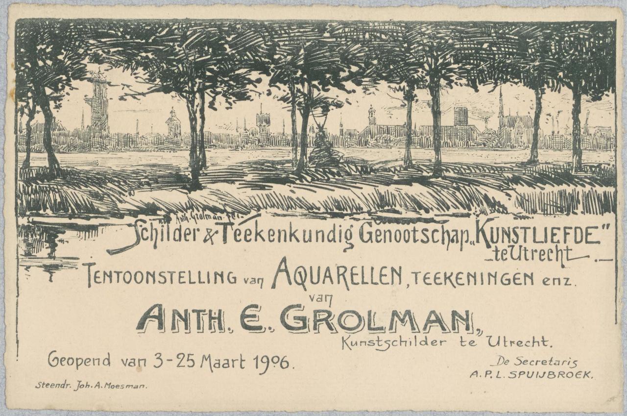 Uitnodiging van Genootschap Kunstliefde voor een tentoonstelling van werken van Anthonie Grolman in 1906