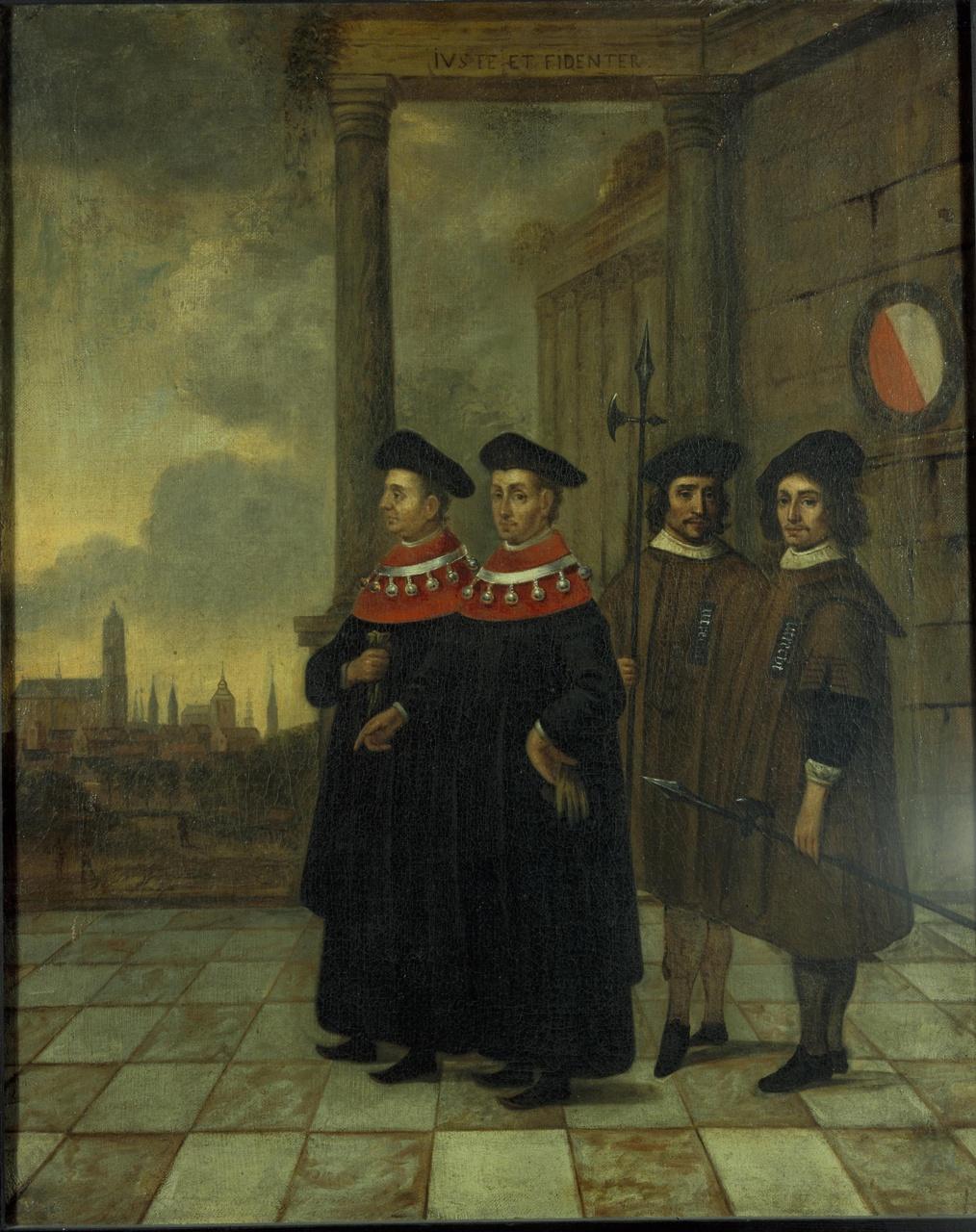 De burgemeesters van Utrecht met de stadsboden