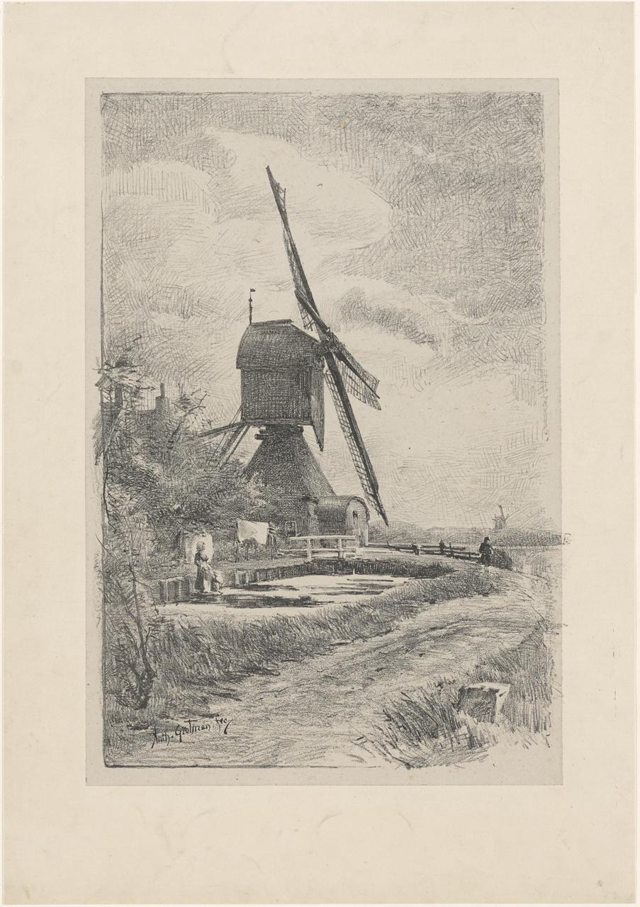 Windmolen in landschap
