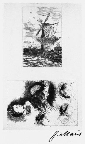 Molens (recto) en studie vrouwen- en kinderkoppen (verso)