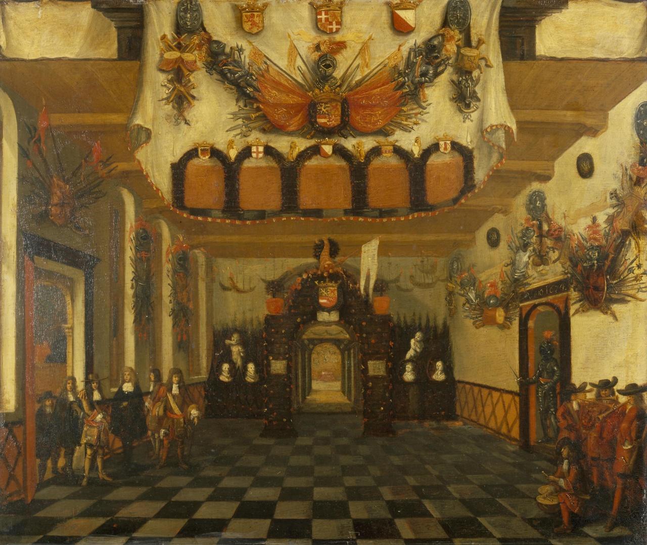 Ontvangst van Prins Willem III in 1674 in de Statenkamer van Utrecht ter gelegenheid van zijn aanstelling tot erfstadhouder