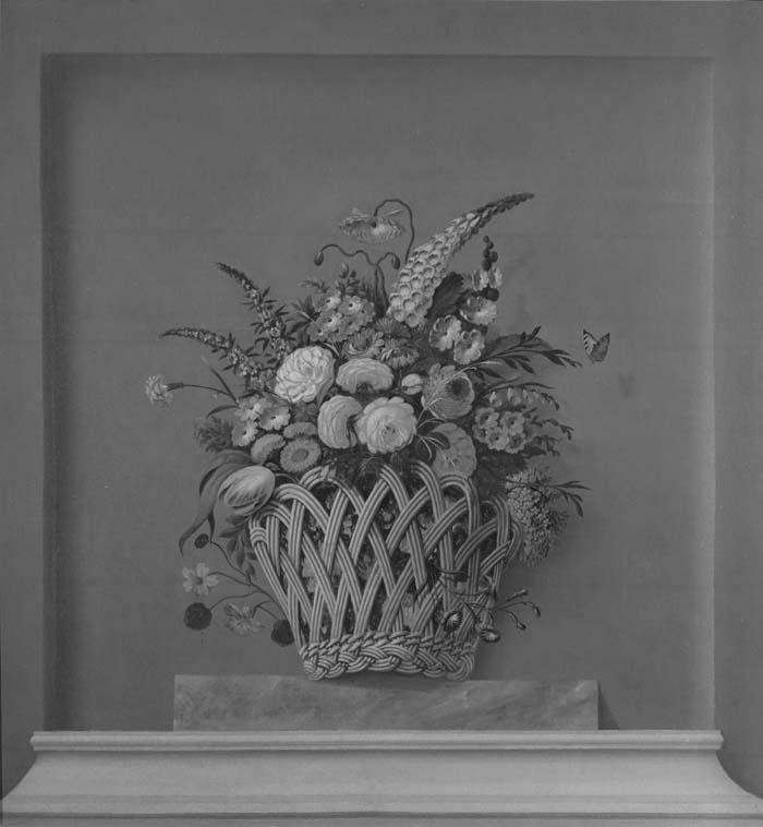 Dessus-de-porte: mand met bloemen