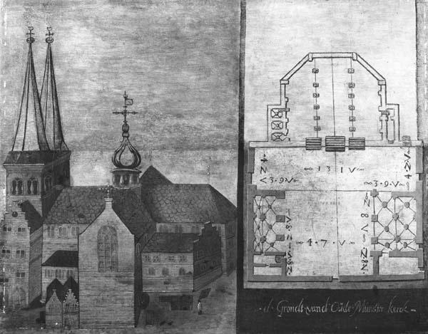 De Sint Salvatorkerk of Oudmunsterkerk te Utrecht met plattegrond