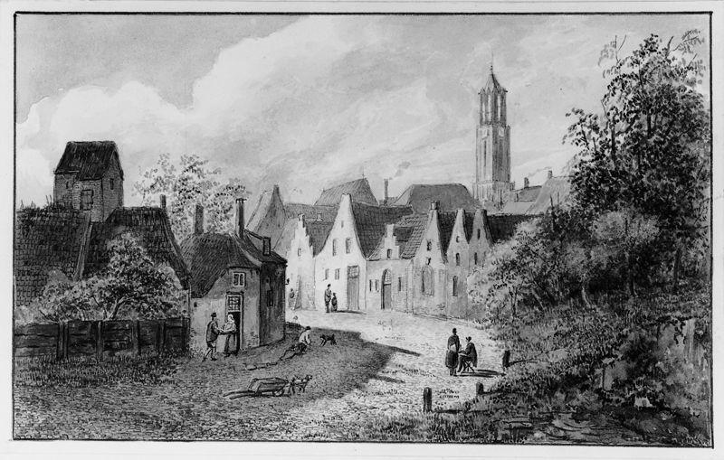 Straatje in Utrecht met de Domtoren in de achtergrond