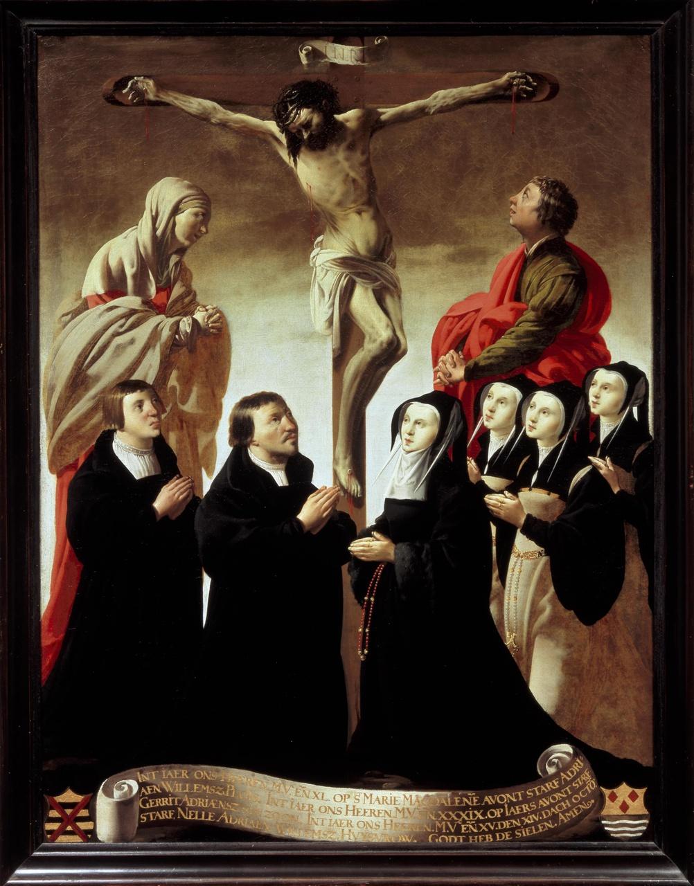 De kruisiging met Maria, Johannes en leden van de familie van Adriaen Willemsz. Ploos