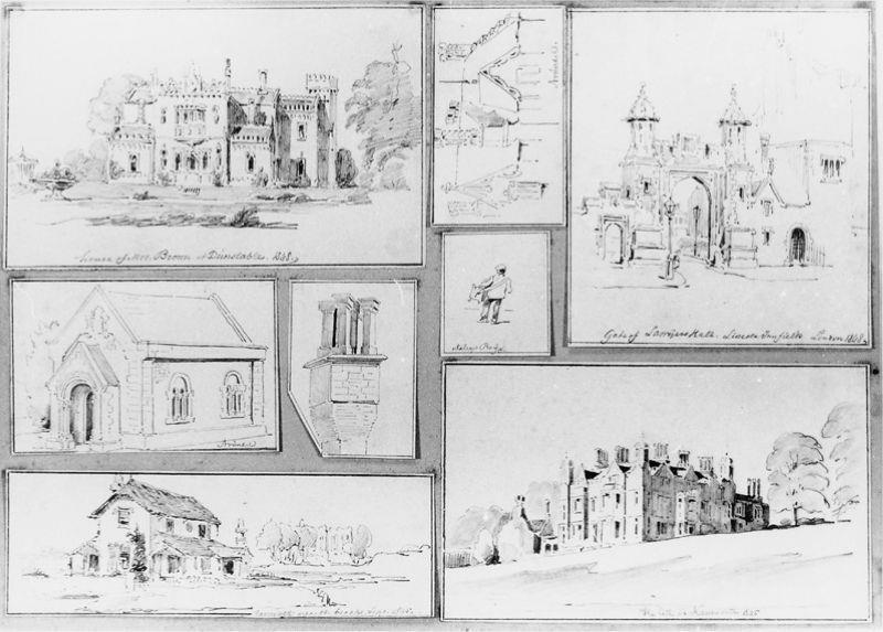 Verschillende gebouwen (Blad met 8 potloodschetsen)