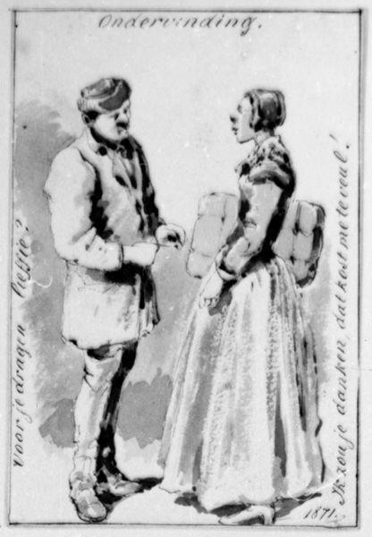 Man en vrouw in gesprek (onderling)
