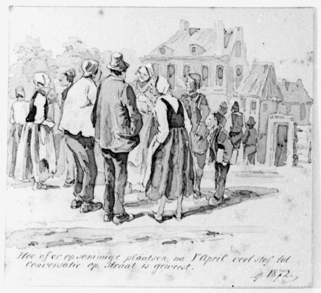 Groep pratende mensen op straat