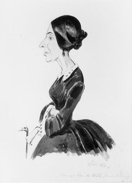 Karikatuur van mevrouw Van de Wall (Douairière Calkoen)