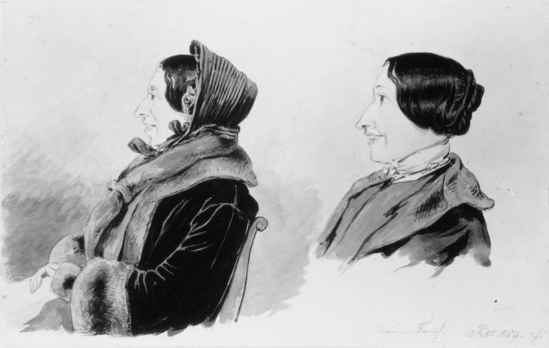 Twee karikaturen van Mevrouw M.E. Twiss-Suermondtt