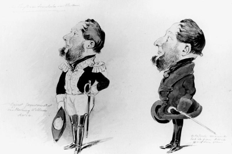 Twee karikaturen van mr. E.L. baron van Tuyll van Serooskerken van Vleuten (1801-1860)