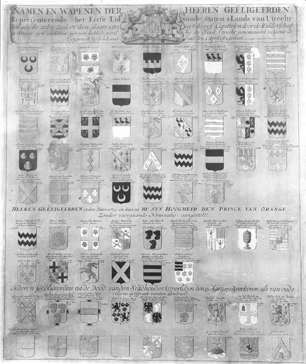 Wapenkaart met de namen en wapens van de leden van de vroedschap van Utrecht