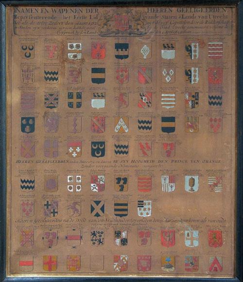 Wapenkaart met de namen en wapens van de geëligeerden van het eerste lid van de Staten van Utrecht 1582-1753