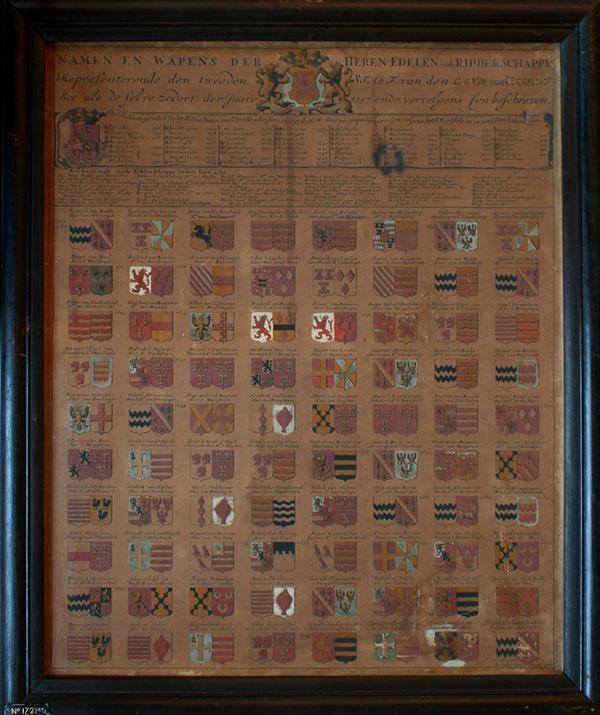 Wapenkaart met namen en wapens van de presidenten en ordinaris raden van het Hof van Utrecht 1530-1776