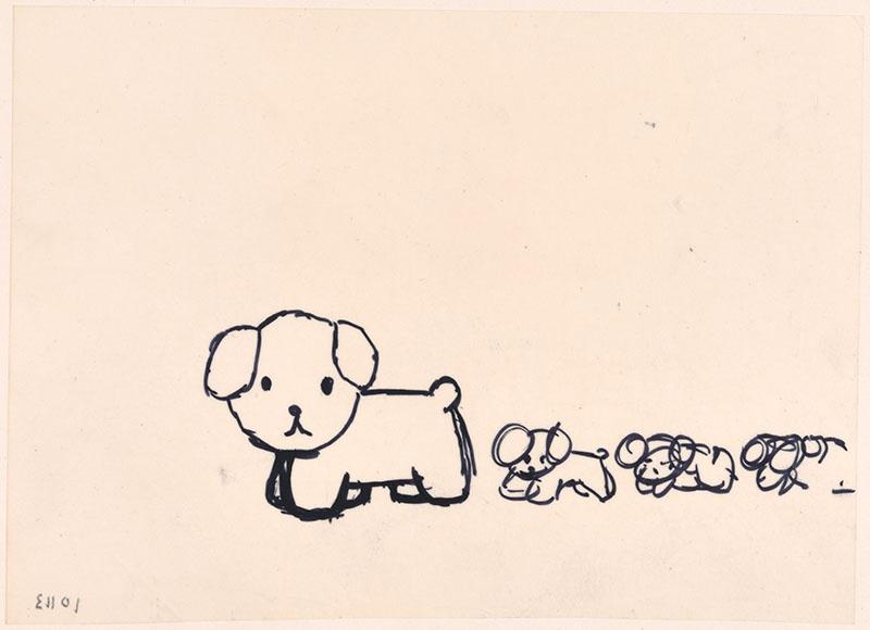 de puppies van snuffie [snuffie met drie puppies achter zich, niet opgenomen in het kinderboek]