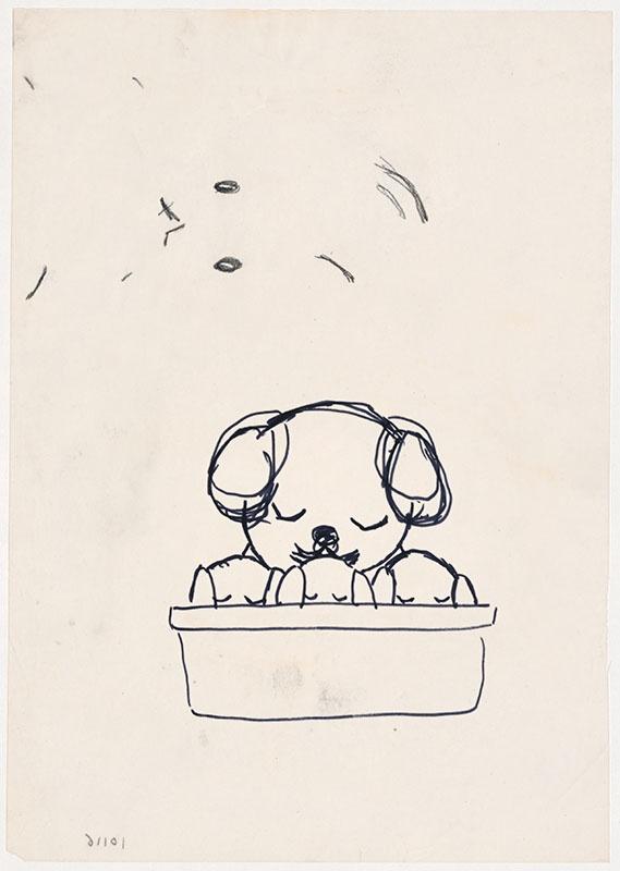 de puppies van snuffie [snuffie met drie puppies in een mand, niet opgenomen in het kinderboek]