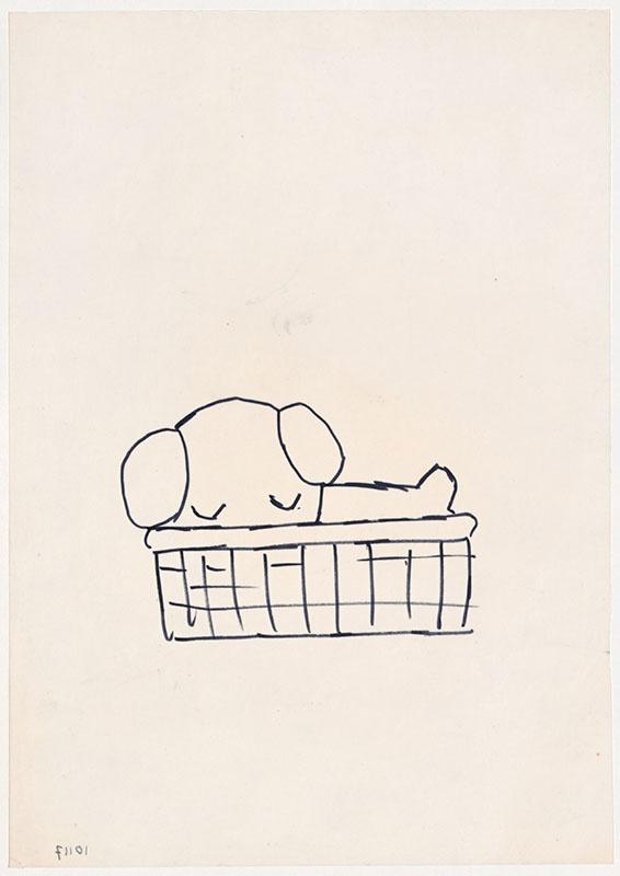 de puppies van snuffie [slapende snuffie in een rieten mand, niet opgenomen in het kinderboek]