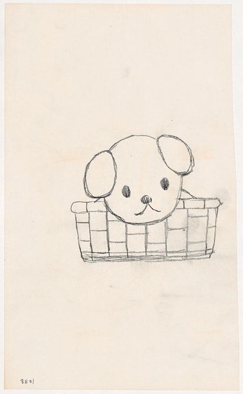 de puppies van snuffie [snuffie in een rieten mand, niet opgenomen in het kinderboek]