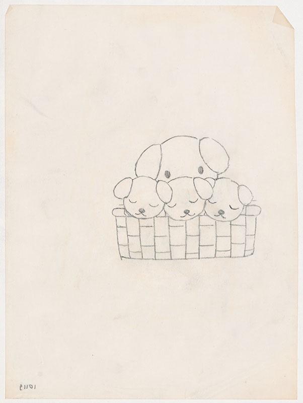 de puppies van snuffie [snuffie met drie slapende puppies in een rieten mand, niet opgenomen in het kinderboek]