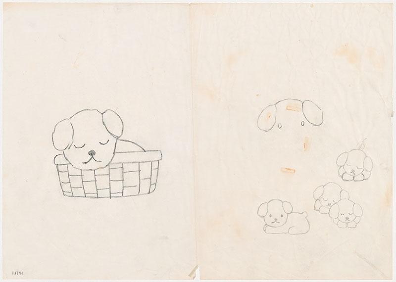 de puppies van snuffie [snuffie in een rieten mand en de puppies, niet opgenomen in het kinderboek]