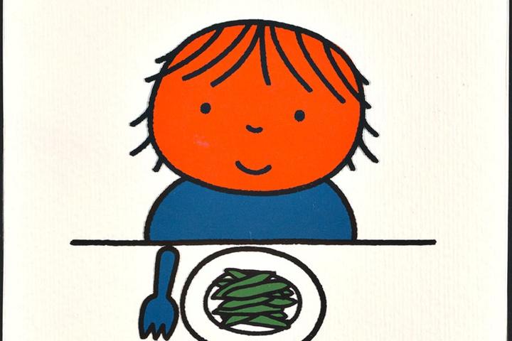 ik kan alles zelf, boek zonder woorden [aangetroffen bij kinderboek: 'op de step'; meisje achter een bord met boontjes op p. 27 en meisje poetst haar tanden op p. 28; niet uitgegeven]
