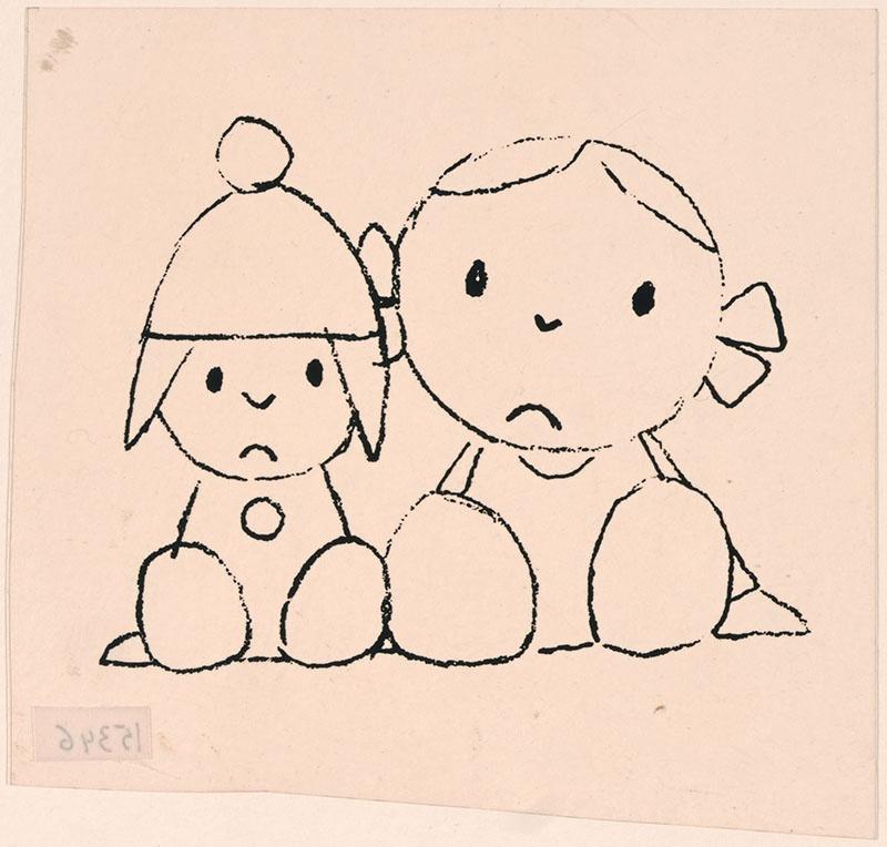 sip kijkend zittend meisje met strikken in het haar en een sip kijkend zittend figuur naast haar met een muts op het hoofd [verband met een kinderboek is onduidelijk]