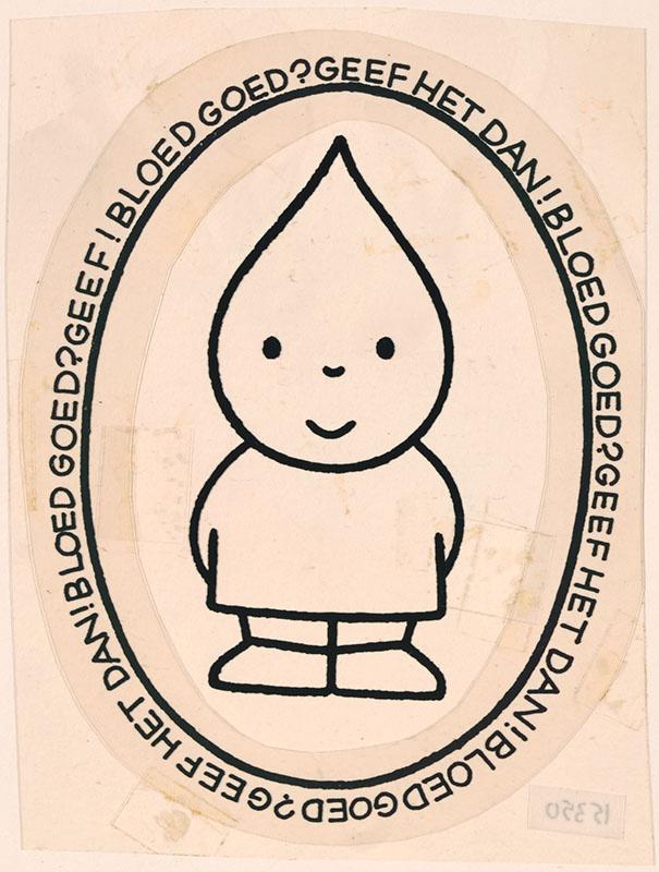 Bloed goed? Geef het dan! [ figuur met een hoofd in de vorm van een bloeddruppel, waarschijnlijk in opdracht van de Stichting Rode Kruis Bloedbank in Rotterdam, niet op deze manier uitgegeven]