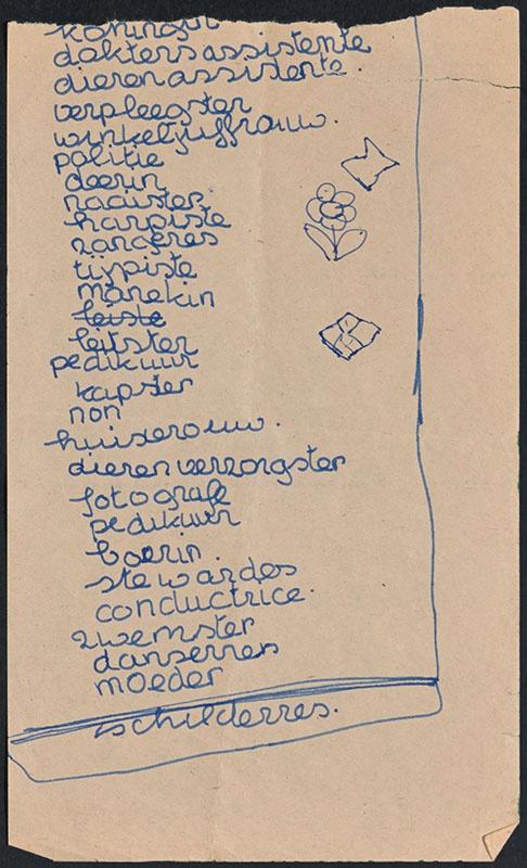 meisjes beroepen [lijstje met opsomming van beroepen voor meisjes in het handschrift van een kind]