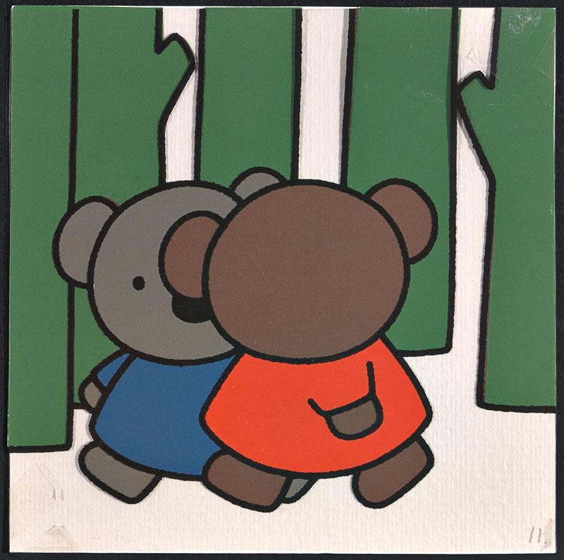 boris en ko [boris en ko lopen samen door het bos op p. 11 en tekst op p. 12]