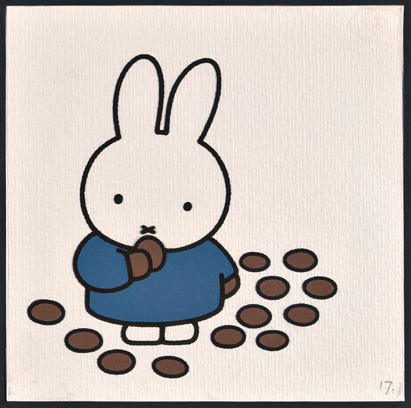 nijntje in luilekkerland [nijntje eet stenen van chocolade op p. 17 en tekst op p. 18]