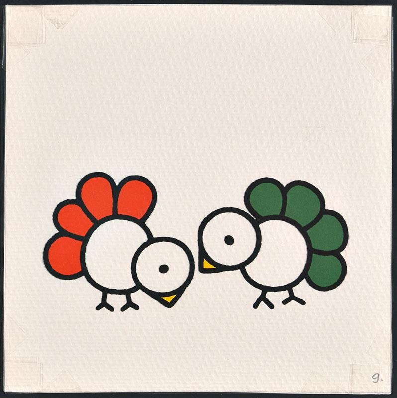 vogel piet [ een vogel met rode veren en een met groen op p. 9 en tekst op p. 10]