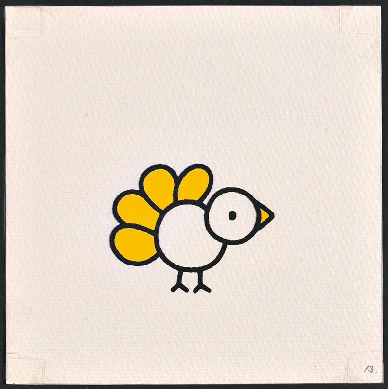 vogel piet [vogel met gele veren op p. 13 en tekst op p. 14]