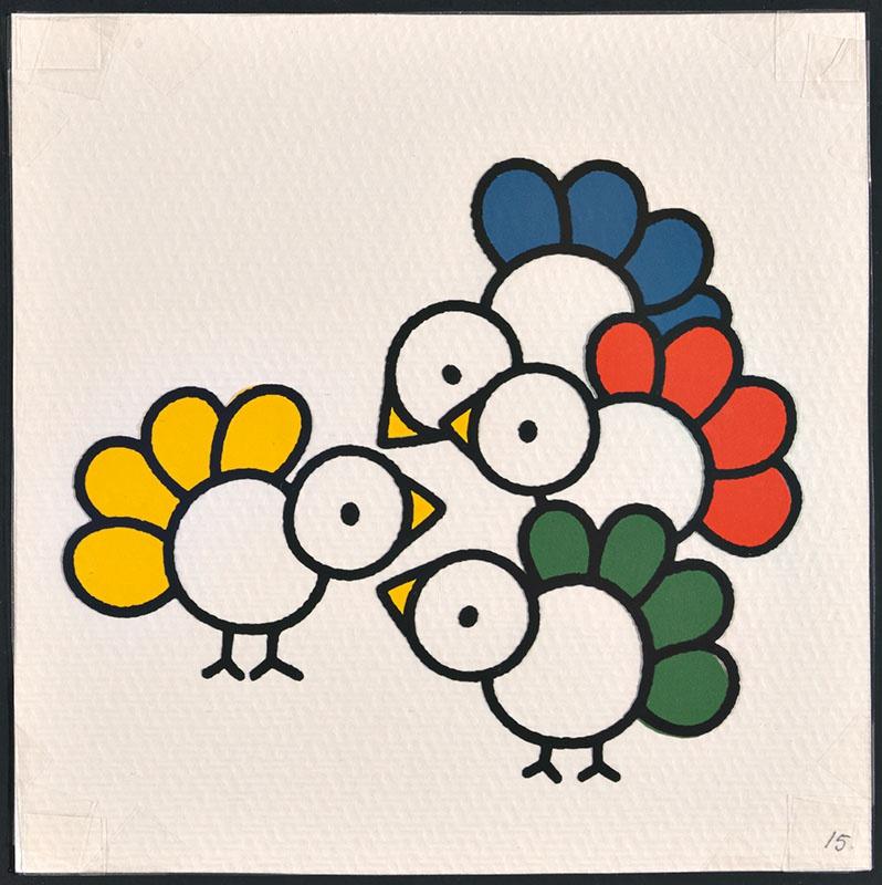 vogel piet [vogels met gele, blauwe, rode en groene veren op p. 15 en tekst op p. 16]