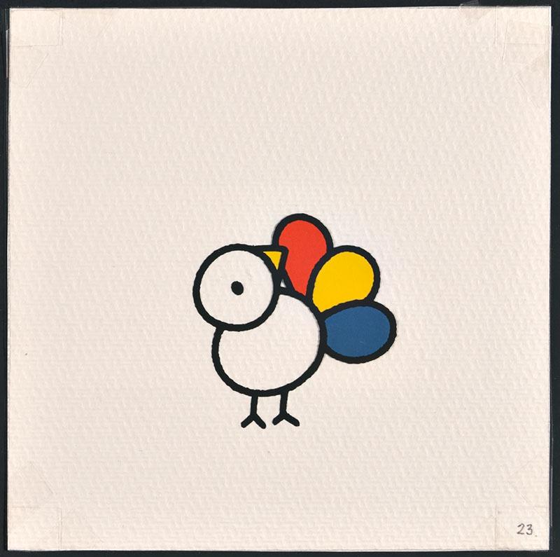 vogel piet [vogel piet met een rode, gele en blauwe veer op p. 23 en tekst op p. 24]