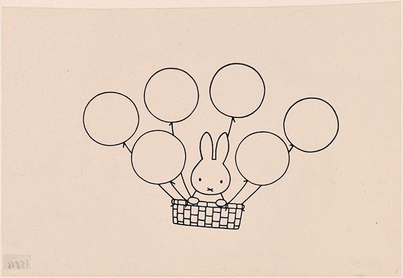 nijntje in een mandje dat aan ballonnen hangt