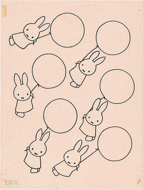 zes konijnen hangen aan een ballon