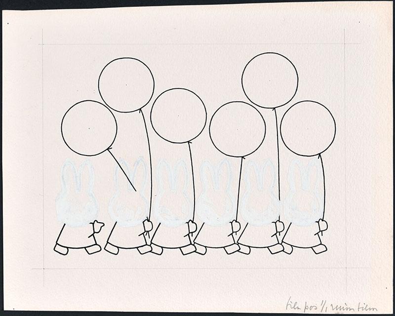 zes x  een figuur die achter elkaar lopen met een ballon in de hand