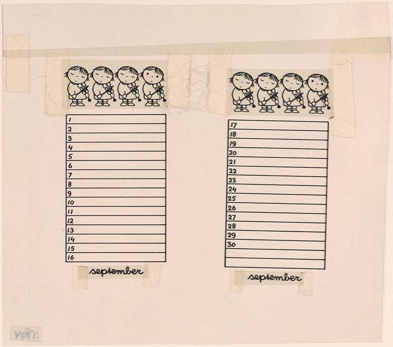 kalenderblad voor de maand september [vier violisten op een rij]