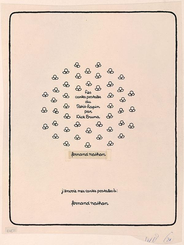 Les cartes postales du Petit Lapin par Dick Bruna, j'envoie mes cartes postales à: [mogelijk een ontwerp voor een affiche in opdracht van Fernand Narthan]