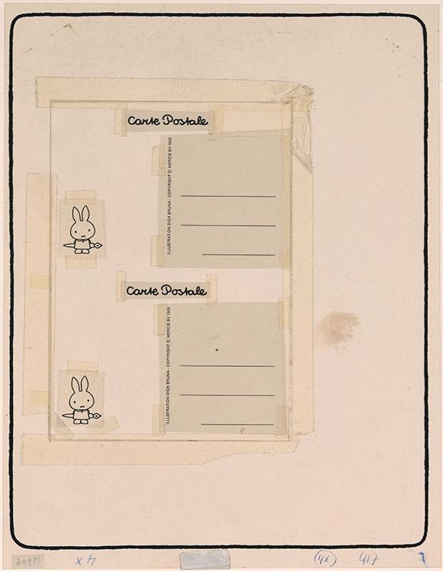 achterzijde van een prentbriefkaart met daarop een nijntje afgebeeld met een grote kroontjespen achter haar rug, waarschijnlijk in opdracht van Fernand Narthan
