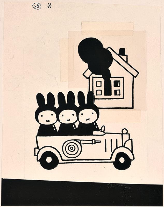 drie konijnen in een brandweerauto met op de achtergrond een brandend huis [vergelijk het kinderboek: snuffie en de brand; niet gebonden aan een kinderboek]