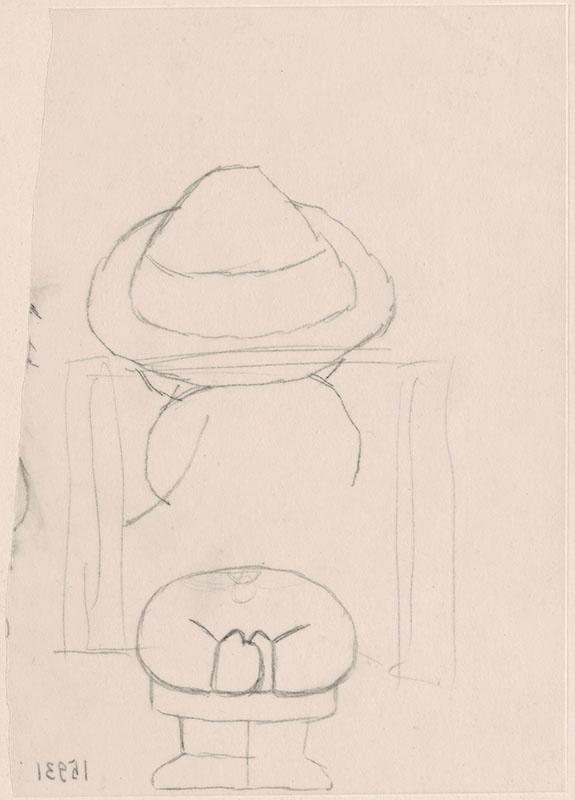 wie zijn rug is dat? [jan de tuinman met hoed en klompen van achteren gezien op de omslag en op p. 4 en p. 5]