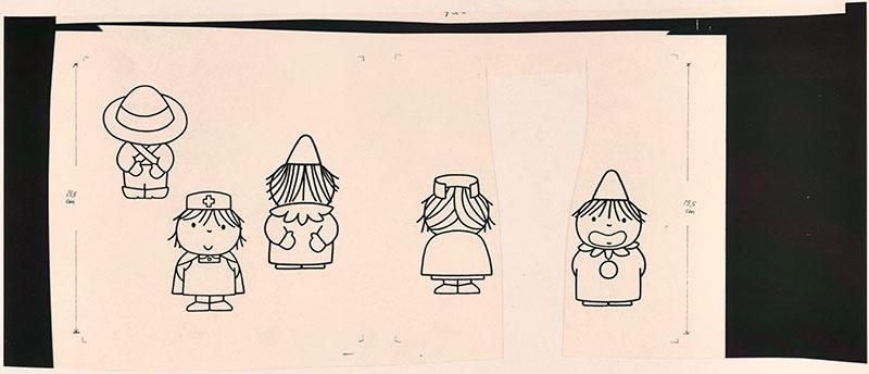 wie zijn rug is dat? [jan de tuinman van achteren gezien, de verpleegkundige van voren gezien, clown van achteren gezien op p. 4; verpleegkundige van achteren gezien en de clown van voren gezien op p. 5, met als thema: 'wie zijn rug is dat?]