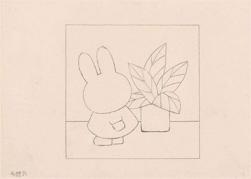 nijntje met een grote plant in een pot, niet gebonden aan een kinderboek