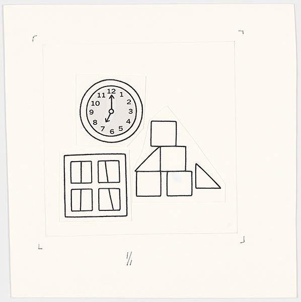 rond, vierkant, driehoekig [p. 8, p. 14, p. 24; ronde klok, vierkante ramen; driehoekige blokken]; wie zijn hoed is dat? [klok, raam em blokken op p. 14, met als thema: wat is rond, vierkant, driehoekig?']