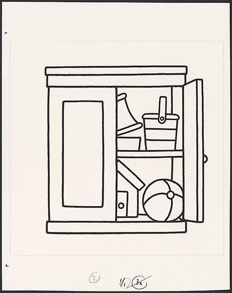 boek zonder woorden 3; iris een boek zonder woorden [kast met een deur open en speelgoed op p. 8]