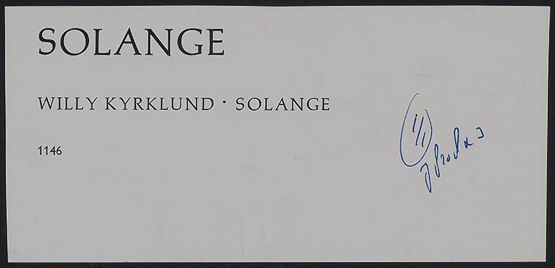 Kyrklund, Willy [Solange / Witte Beertjes 1146]